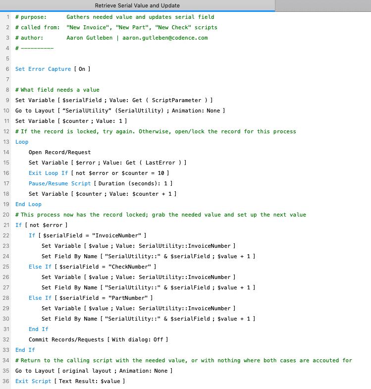 Retrieve Serial Value and Update script